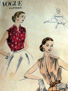Lovely Vtg 1950s Blouse Vogue Sewing Pattern 18 36 | eBay