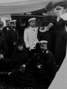 Dowager Empress Maria Feodorovna, Nicholas II, Empress Alexandra Feodorovna and Princess Victoria of Wales, circa 1899 - 1900