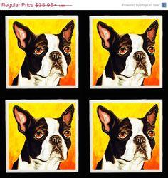 Boston Terrier Coaster Dog Set Art tile from Original Painting Print Pet Portrait