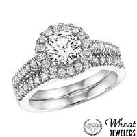 Round Halo Engagement Ring with Matching Diamond Wedding Band available at Wheat Jewelers #engagementring #halo