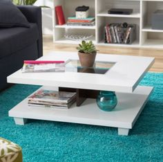 Contemporary Coffee Table Bun Feet Living Room Furniture Matte White Finish New
