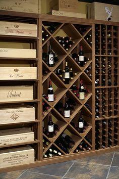 Diamond Wine Rack Display Kit by VigilantWineCellars o… Wine Storage Cabinets, Wine Rack Storage, Wine Shelves, Wine Rack Wall, Wine Wall, Wine Rack Cabinet, Wine Cellar Basement, Wine Cellar Racks, Wine Rack Design
