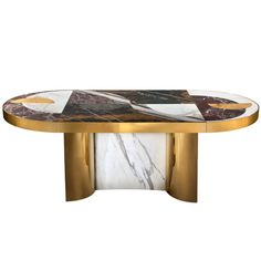Half Moon Marble and Brass Dining Table | From a unique collection of antique and modern dining room tables at https://www.1stdibs.com/furniture/tables/dining-room-tables/
