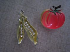 Why don't I have these already? 50s VEGETABLE Brooches PEAS And TOMATO Jewelry 1950s by Flipsville, $20.00