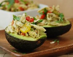 Chicken Salad with Roasted Bell Pepper in Avocado Cups Shared on https://www.facebook.com/LowCarbZen