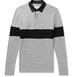 Reigning Champ's rugby shirt feels more like a sweatshirt - it's cut for a relaxed fit and has a thick handle. It's been made in Canada from soft cotton-jersey and finished with twill collar and black stripe. Rugby Shirts, Half Zip Pullover, Full Zip Hoodie, Mens Designer Polo Shirts, Reigning Champ, Mr Porter, Champs, Black Cotton, Man Shop