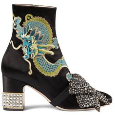 Gucci Women's Candy Embroidered Satin Ankle Boots (51.470 ARS) ❤ liked on Polyvore featuring shoes, boots, ankle booties, black, black ankle bootie, black high heel booties, high heel bootie, block heel booties and black high heel boots