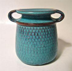 RARE Signed STIG LINDBERG GUSTAVSBERG Sweden Studio Art Pottery 3  Handled Vase