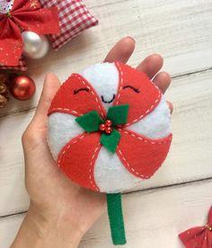 Christmas ornaments felt Christmas sweets Christmas candy Felt lollipop Lollipop for Christmas tree
