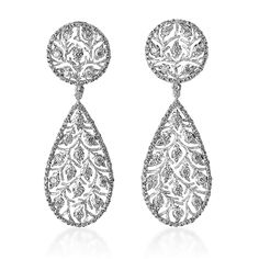 Buccellati White Gold Ramage Pendant Earrings