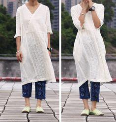 White Dress linen Cotton women dress long dress by fashiondress6, $98.00