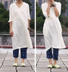 White Dress linen Cotton women dress long dress by fashiondress6, $98.00