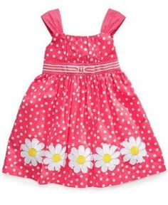 Blueberi Boulevard Kids Dress, Little Girls Floral Dot Dress   Kids