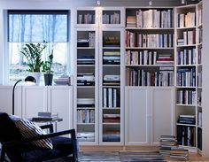 Home [White IKEA Billy bookcase with doors. My final bookcase/home office storage decision. Looks so crisp and cheery. Billy Bookcase With Doors, White Bookshelves, Billy Bookcases, Bookshelf Door, Billy Bookcase Hack, Barrister Bookcase, Ikea Bookcase, Hemnes, Living Room Storage