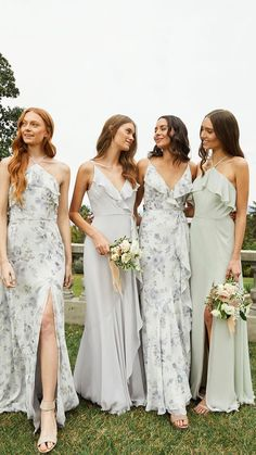 Keep with a color pallet that's soft like light blues and greens and mix in florals with solids. Such a good look. Bridesmaid dresses from Jenny Yoo. Printed Bridesmaid Dresses, Mismatched Bridesmaid Dresses, Wedding Bridesmaid Dresses, Bridesmaid Dresses Sage Green, Floral Bridesmaids, Designer Bridesmaid Dresses, Prom Dresses, Bridesmaid Inspiration, Bridal Party Dresses