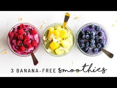 Banana Free Smoothie Bowls 3 Ways! - Feasting on Fruit