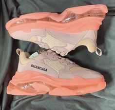 Shop Women's Balenciaga Pink size Various Sneakers at a discounted price at Poshmark. Cute Sneakers, Shoes Sneakers, Orange Sneakers, Lolita Outfit, Sneakers Fashion, Fashion Shoes, Fashion Goth, Aesthetic Shoes, Hype Shoes