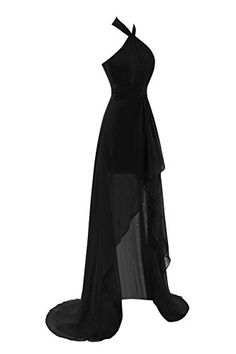 Queenmore Women's Summer High Low Halter Asymmetrical Prom Party Dress US14 Black