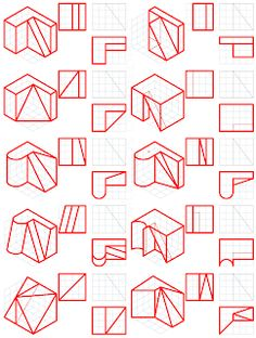 losmuertosdeldiedrico: PERSPECTIVA ISOMÉTRICA 1º BACHILLERATO Isometric Drawing Exercises, Orthographic Drawing, Drawing Practice, Technical Drawing, Autocad, Home Interior Design, Diagram, Quilts, Drawings