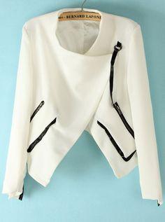 White Long Sleeve Contrast Leather Zipper Jacket US$29.84