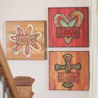Faith, Hope, and Love - Gallery Wrapped Canvas Prints - Set of 3 Morgie could paint this...