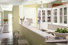 Look at the paint color combination I created with Benjamin Moore. Via @benjamin_moore. Wall: Thicket AF-405; Accent Wall: Beacon Hill Damask HC-2; Trim: White Dove OC-17; Ceiling: White Dove OC-17.