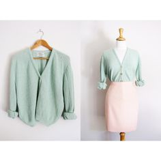 Vintage 50s Mint Green Cardigan Knit Wool Jade Sweater ($59) ❤ liked on Polyvore featuring tops, outerwear, silver, women's clothing, v-neck top, v neck crop top, vintage tops, long sleeve crop top and mint crop top