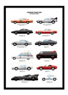 Art-Poster Wall Editions : Legendary movie cars, by Olivier. Format : 50 x 70 cm.  #cars #geek #movie #poster #print #art #walleditions