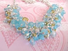 Blue crystal necklace, by romanticcrafts on Etsy, $19.90
