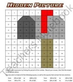 Reveal the hidden picture by finding the percent of these numbers. This fun worksheet includes directions for your students, including which colors to use. You will be able to grade/check these in mere seconds using the color key that I have provided. This is a fun, enjoyable way for your students to calculate the percent of a number!