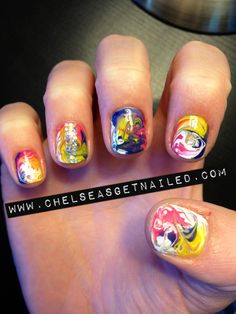 Tie dye nails! With some tweaking, this could be cool...