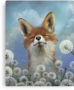 Dandelion Fox Animal Print beautiful fox artwork by artist Ash Evans. Fox in a field of dandelions fine art print. Dandelion Drawing, Gato Animal, Fox Animal, Memes Arte, Fox Painting, Illustration Art, Illustrations, Pet Fox, Fox Art