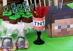 Treats at a Minecraft Party #minecraft #party