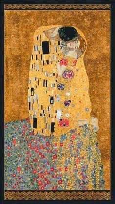 219105 brown gold metallic people panel fabric Robert Kaufman Gustav Klimt