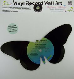 Vinyl Record Butterfly Wall Art by BlackberryHillDesign on Etsy, $19.99