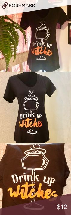 """🎃🎃THE WITCHING HOUR T-SHIRT L V-neck Black 🎃🎃 🎃🎃THE PERFECT HALLOWEEN NOVELTY T      """"THE WITCHING HOUR"""" Girls night out T.  great poly/cotton quality material  attractive, flattering V-neck style, short sleeve. Great T for upcoming Halloween gatherings grab it now.         ❌BUNDLE❌ Reasonable offers. Put together great Halloween look earrings leggings all available Tops Tees - Short Sleeve"""