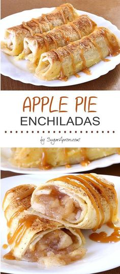 Baked Apple Pie Enchiladas give you all the cinnamony goodness of hot apple pie stuffed securely into a tortilla and drizzled with caramel sauce... Baked Apple Dessert, Apple Crepes, Apple Pie Bread, Apple Dessert Recipes, Apple Pie Cheesecake, Apple Recipes Low Carb, Healthy Apple Desserts, Apple Sauce Cake, Easy Apple Desserts