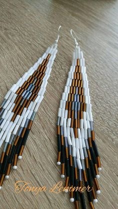 Handmade bugle bead earrings Multicolor long earrings Bohemian earrings Fancy jewelry Fringe earrings Gift for girlfriend Women present These long earrings are made of Czech bugle beads in white, gray, black and brown on a strong nylon thread. Length - 13 cm (5.11 inch), width - 2.5