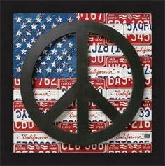 Aaron Foster 'American Flag Peace Sign' Framed Print