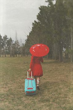 The traveling red umbrella