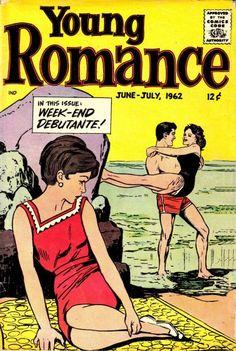 GCD :: Cover :: Young Romance #v15#4 [118] Ink Illustrations, Pencil Illustration, Joe Simon, V 15, Romance Comics, Classic Hairstyles, Comics Story, True Romance, Vintage Romance