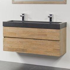 Afbeeldingsresultaat voor houten badkamermeubel ondiep