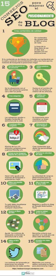 #infografía 15 Consejos SEO para mejorar el posicionamiento de tu BLOG