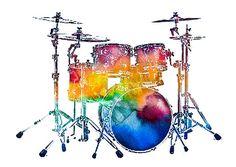 Jazz Musician Photograph - Drum Set by Athena Mckinzie Music Collage, Art Music, Drummer Tattoo, Drums Art, Music Tattoo Designs, Jazz Musicians, Preschool Art, Rock Art, Watercolor Art
