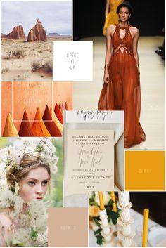 Moodboard // Spice it up // Curry, Saffron Safran, Nutmeg Muskat, Farben Gewürze Spicey Weddinginspiration Hochzeit Inspiration, Senfgelb, Wedding Planer, Wedding Design, Dekoration, Floristik