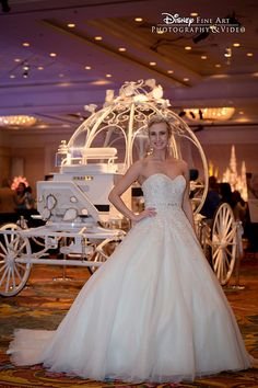 Tiana inspired Alfred Angelo wedding dress at the 2015 Disney's Fairy Tale Weddings & Honeymoons Showcase