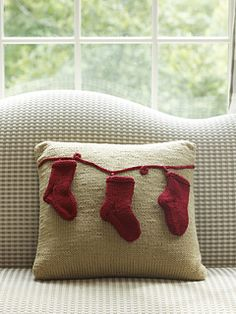 Holiday Pillow with Stockings by Julie Farmer