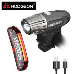 HODGSON USB Rechargeable Bike Light  LED  Waterproof  Front Light  Tail Light Set  Bicycle Headlight Taillight Rear Light 8101C1