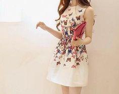 Summer Korean Style New Butterfly Print Slim Womens Fashion Vest Bubble Dress