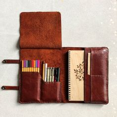 Excited to share this item from my shop: handmade leat Diy Pencil Case, Leather Pencil Case, Pencil Cases, Leather Roll, Leather Tooling, Sewing Leather, Leather Craft, Leather Gifts, Handmade Leather